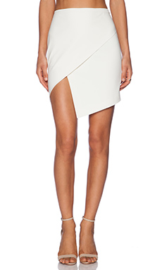 Mason by Michelle Mason Asymmetrical Wrap Skirt in Ivory