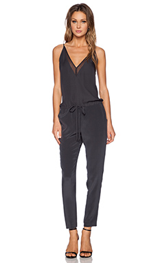 Mason by Michelle Mason Chiffon Panel Jumpsuit in Charcoal