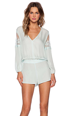 Mason by Michelle Mason Lace Inset Romper in Mint