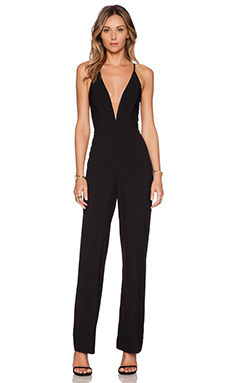 Mason by Michelle Mason Deep V Jumpsuit in Black