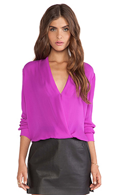 Mason by Mason by Michelle Mason Wrap Blouse in Fuschia