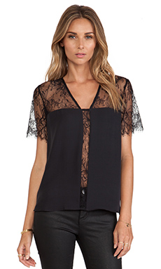 Mason by Mason by Michelle Mason Lace Top in Black