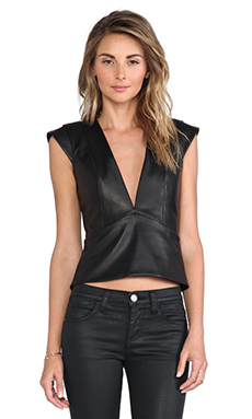 Mason by Michelle Mason Plunge Neck Top in Black