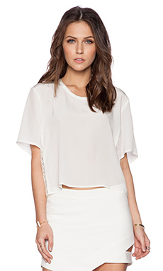 Mason by Michelle Mason Crop Tee in Ivory