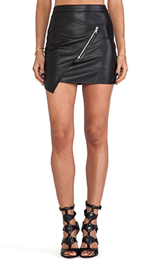 May. Xerox Leather Skirt in Black