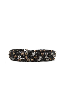 M.Cohen Three Wrap Mixed Skulls Bracelet in Black