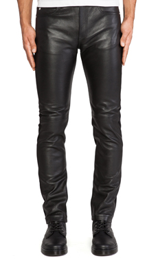 McQ Alexander McQueen Leather Skinny Jeans in Darkest Black
