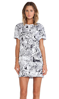 McQ Alexander McQueen T-Shirt Dress in Manga Print