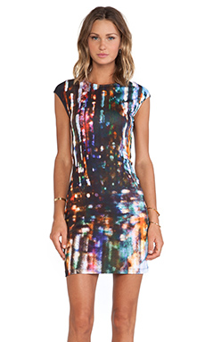 McQ Alexander McQueen Cap Sleeve Dress in Blurry Lights