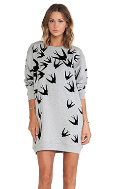 McQ Alexander McQueen Classic Sweatshirt Dress in Grey Melange & Black Flock