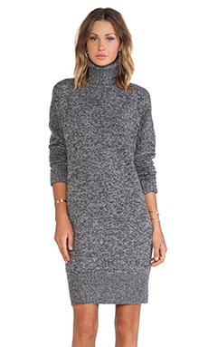 McQ Alexander McQueen Oversized Lambswool High Neck Dress in Light Grey & Dark Grey