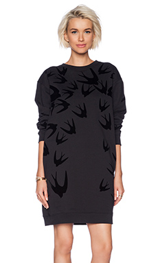 McQ Alexander McQueen Flocked Swallow Sweater Dress in Black