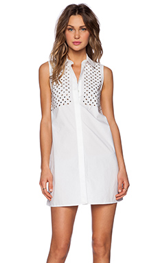 McQ Alexander McQueen Stud Dress in Optic White