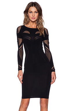 McQ Alexander McQueen Mesh Dress in Darkest Black