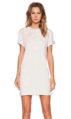 McQ Alexander McQueen T-Shirt Dress in Snow Melange