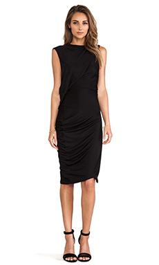 McQ Alexander McQueen T-Bend Dress in Velvet Black