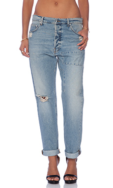 McQ Alexander McQueen Patched Boyfriend Jean in Distressed Indigo