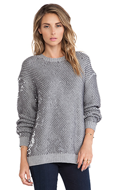 McQ Alexander McQueen Sequin Knit Crew Neck Jumper in Grey Melange