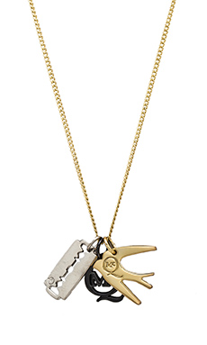 McQ Alexander McQueen Charm Necklace in Shiny Gold