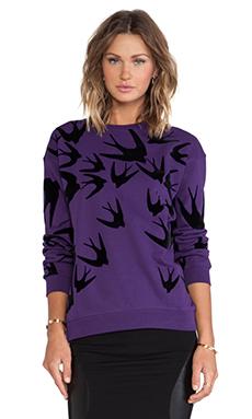 McQ Alexander McQueen Classic Sweatshirt in Fig & Black Flock