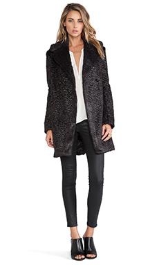 McQ Alexander McQueen Faux Fur Teddy Coat in Black/Lacquer