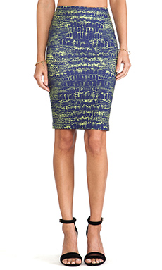 McQ Alexander McQueen Contour Skirt in Indigo Reptile