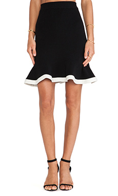 McQ Alexander McQueen Peplum Knit Skirt in Jet Black