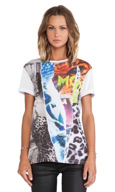 McQ Alexander McQueen Ripped Print Boyfriend T-Shirt in Grey Melange