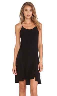 MERRITT CHARLES Front Silts Dress in Black Silk