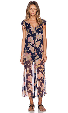 MERRITT CHARLES Theodore Maxi Dress in Navy Floral