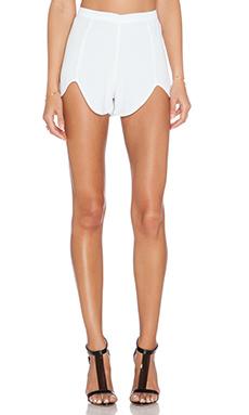 MERRITT CHARLES Rome Front Tulip Shorts in White