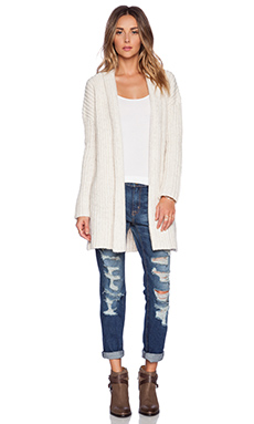 MERRITT CHARLES Ryder English Rib Cardigan in Ivory