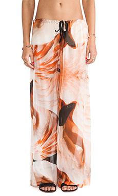 MERRITT CHARLES Sheer Silk Drawstring Pant in Flamingo Print