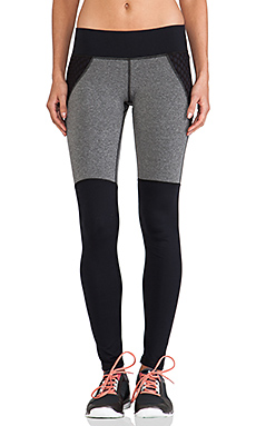 MICHI Shadow Legging in Grey Heather & Black with Mesh