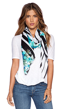 Michael Stars Striped Bouquet Scarf in Black