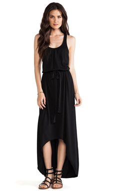 Michael Stars Sleeveless Scoop Neck Racerback Hi-Low Maxi in Black