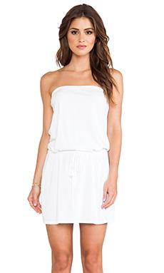 Michael Stars Strapless Tie Waist Dress in White