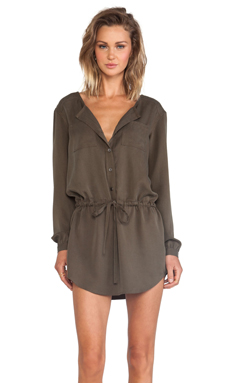 Michael Stars Button Down Shirt Dress in Military