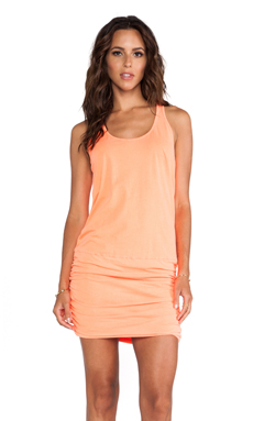 Michael Stars X REVOLVE Jersey Knit Sleeveless Scoop Neck Racerback Shirred Dress in Screaming Orange