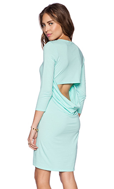 Michael Stars 3/4 Sleeve Drape Dress in Cool Mint