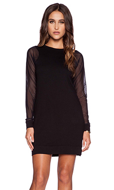 Michael Stars Mesh Sleeve Dress in Black
