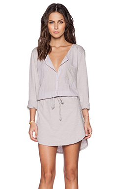 Michael Stars Long Sleeve Shirt Dress in Abalone