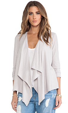 Michael Stars Long Sleeve Cascade Front Cardigan in Oyster