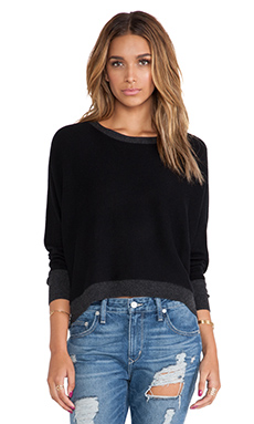 Michael Stars Hi-Low Boat Neck Sweater in Black & Charcoal