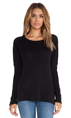 Michael Stars Crew Neck Sweater with Side Slits in Black