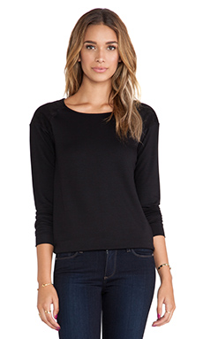 Michael Stars Long Sleeve Sweatshirt with Suede in Black