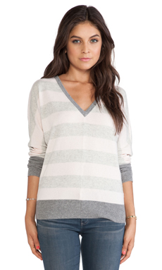 Michael Stars Long Sleeve V-Neck Sweater in Rosewater & Heather Grey