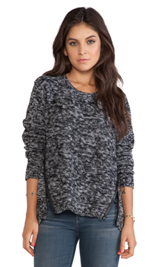 Michael Stars Zipper and Elbow Patch Sweater in Grey & Black