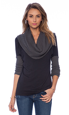 Michael Stars Long Sleeve Cowl Neck Sweater in Oxide