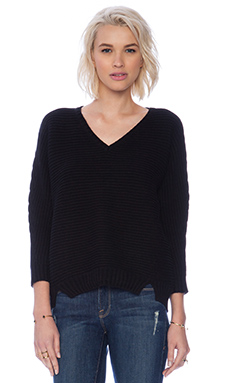 Michael Stars 3/4 Sleeve Hi-Low Rib Sweater in Black